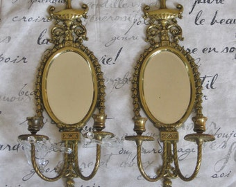 Pair of Brass Sconce Candle Holders with Mirror and Crystal Prisms, Large Ornate Wall Light, Urns Tassels Twisted Metal Decorative Lighting
