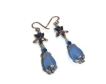 Starfish Earrings Recycled Glass with Starfish Earrings Sea Glass
