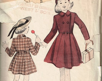 40s Girls Coat Pattern Butterick 4999 Tailored Button Front Coat Double Breasted Collared Coat For Girls Vintage 1940s Sewing Pattern