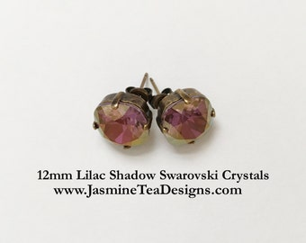 Lilac Shadow Earrings, 12mm Cushion Cut Swarovski Lilac Shadow Crystals,  Set In Vintage Patina Antique Brass, Post Setting, Stud Earrings