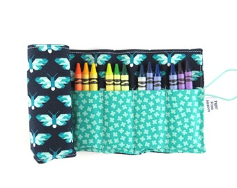 Crayon Roll - Pacific Butterfly - crayon holder toddler gift girls gift preschool coloring kids journaling big sister gift stocking stuffer