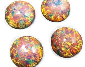 12 pcs Fire Opal Cabochon 18 mm Pink Vintage Glass Stones S-99 B 12 pieces BULK 15
