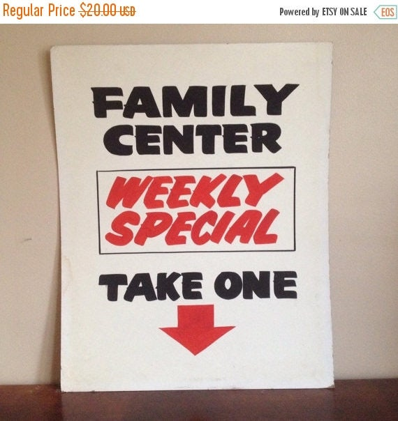 Holiday Sale. Family Center Weekly Special Vintage Sign.  Business Sign or Ad.