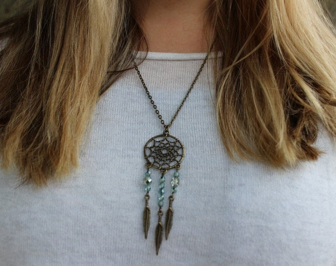 Bronze and Green Dreamcatcher Necklace.