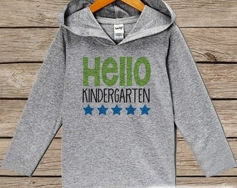 First Day of Kindergarten Shirt - Boys Hello Kindergarten Shirt - Boys School Hoodie - My 1st Day of School Outfit - Back To School Shirt