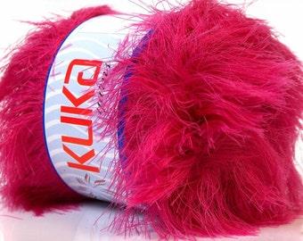 SUPER SOFT FUR fushia pink ice yarns 100gr  5 Bulky Chunky Craft Rug 87 yrds ships from usa indiana 20836