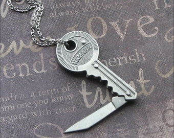 Silver Pocket Knife Necklace - Enchanted Key Knife - Jewelry By TheEnchantedLocket - UNISEX Groom Birthday Anniversary Gift