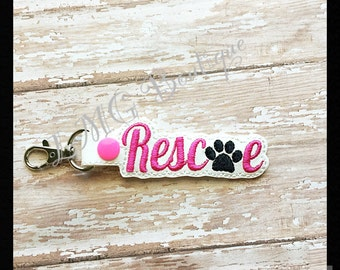 Dog Rescue Key chain, Rescue Fob Embroidered Snap Tab,  Rescue Key Fob, Embroidered Snap Tab, Animal shelter