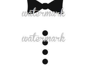 Silhouette or HTV Black Tie  and Bow Tie Design (2 Designs) for Kids Onesies or Tees