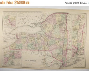 Original New York Map 1876 O.W. Gray Map, Antique Map of New York State, NY Map, Hudson River, Long Island, NY Anniversary Gift for Couple