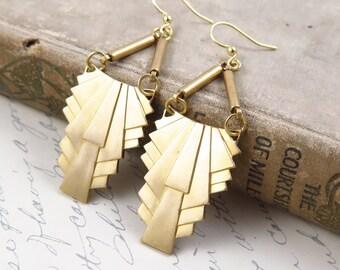 Art Deco Earrings, Long Earrings, Statement Earrings, Geometric Earrings, 1920s Earrings