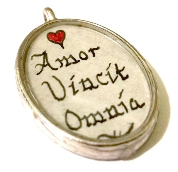 Custom Calligraphy Pendant Quote Necklace Latin Quote Shakespeare