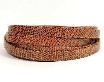 10mm Lizard Texture Leather - Medium Brown - Choose Your Length