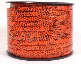 5mm Lizard Texture Leather - Orange - Choose Your Length
