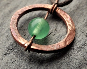 Copper Circle Necklace with Aventurine
