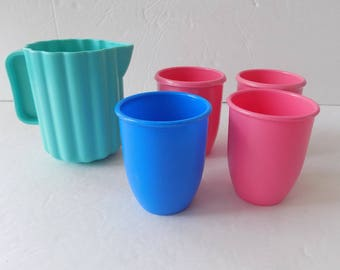 Little Tikes Vintage Aqua Pitcher and Glasses Play Dishes Pretend Play Kitchen Toys