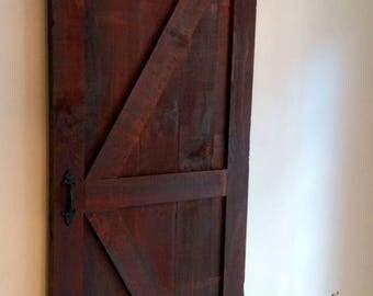 "30"" Sliding Barn Door In Rough Sawn Pine With Rich Brown Finish (Other Sizes Available) Door, Barndoor, Sliding door LOCAL ATLANTA DELIVERY"