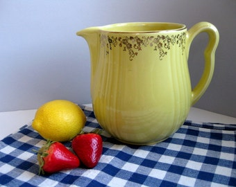 Vintage Hall yellow pitcher jug 1940s Hall pottery Halls Superior Quality Kitchenware