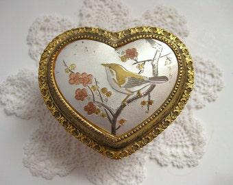 Vintage heart shaped musical trinket box Jewelry casket with birds Heart shape music box