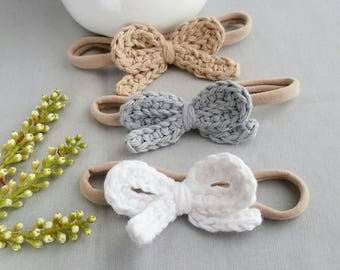Crochet Bow Nylon Headband One Size Fits all  Headband  Pick Your Color - White - Silver - Camel - Pink - Plum - Light Yellow - Ecru