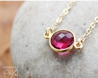 CHRISTMAS SALE Gold Red Ruby Quartz Connector Necklace - 14K Gold Filled - Dainty Necklace