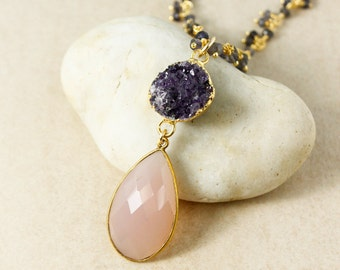 Gold Purple Druzy & Pink Chalcedony Teardrop Necklace - Blue Iolite Cluster Chain - Statement Necklace