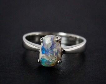 50% OFF SALE - Grey Australian Opal Rings - Choose Your Opal - Silver