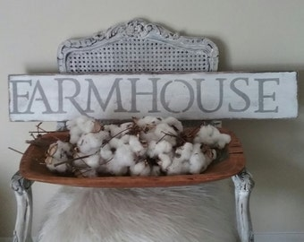 Farmhouse Sign Distressed White with Grey Lettering