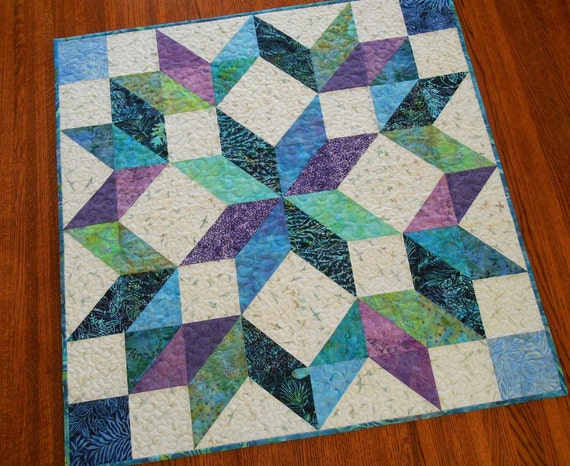 Quilted Batik Wall Hanging or Table Topper in Blue Purple Teal and Green, Carpenters Wheel Star, Square Table Topper, Quilted Wall Art