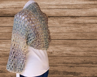 Knitted Shrug Patterns, Big Lacy Knit Shrug, Pattern to Knit Using Homespun Yarn, Knitting Pattern for Shrug, Learn to Knit Lace Design