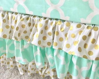 Mint Crib Skirt, Gold Dot Crib Skirt, Gold Ruffled Crib Skirt, Mint Ruffled Crib Skirt, Polka Dot Ruffled Crib Skirt