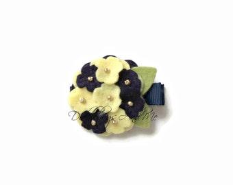 Navy And Yellow Hydrangea Hair Clip, Felt Flower Hair Clip, Girl's Flower Hair Clip, Hydrangea Clip, Flower Clips, Hair Clips For Spring