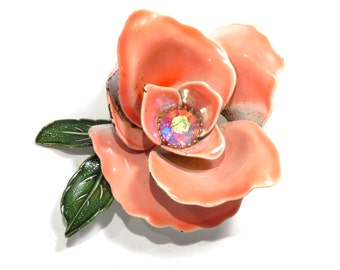 Pretty in Pink Rose Enamel Brooch Vintage 1950s 1960s Enameled Flower Brooch - FREE Domestic Shipping