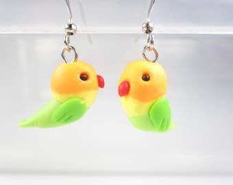 Love Birds Earrings, lovebirds earrings, bird jewelry, bird gift, cute animal earrings, polymer clay, bird earrings, unique gift for her