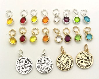 Young Women Values charms, YW values color charms, personal progress values word charms, values bracelet, YW in Excellence, YW theme jewelry