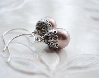 Dark Dusty Rose Pearl Dangle Earrings in Antique Silver, Drop Pearl Earrings, Vintage Style Pearl Earrings, Unique Earrings Gift For Her