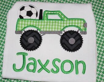 Soccer Monster truck boy shirt- personalized- Soccer season