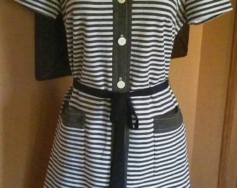Vintage late 60s Striped Day Dress Knit Dress with Pockets Dark Gray and White