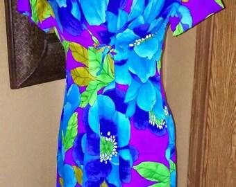 Vintage Hawaiian Maxi Dress Bold Floral