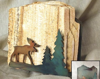 Natural Sandstone Coasters w/ Organic Patina Holder - Moose