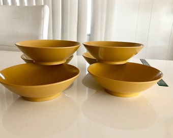 Vintage Set of 6 Melmac Bowls in Mustard Color -- Mid Century Home