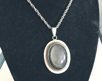 Vintage Silver Pendant and 24 inch chain with moon glow black stone -- Boho - Goth