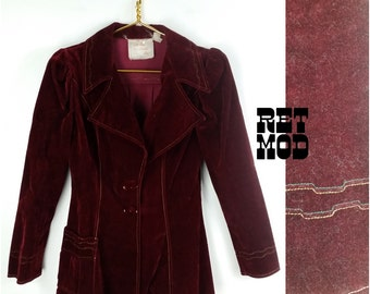 ABSOLUTELY HIPPIE PERFECT Maroon Velvet Bohemian Vintage 70s Jacket!