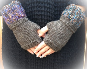 Perfect Gift Gloves - Fingerless Brown Wool Knit Gloves with Soft multi-color cuffs