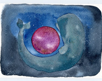 Whales and Worlds Ruby Planet, original watercolor