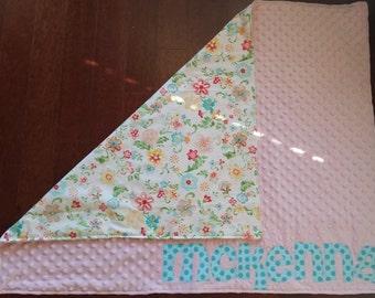 Minky baby blanket, personalized baby blanket, monogrammed baby blanket