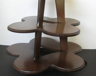Vintage Three-Tiered Wood Display Shelf/Stand for Tabletop - Separate Pieces for Easy Storage