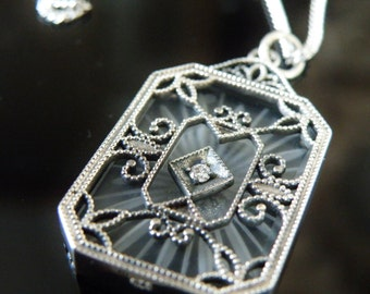 "Estate Art Deco Style Sterling Silver Camphor Glass Simulated Diamond Filigree Pendant 24"" Long Necklace"