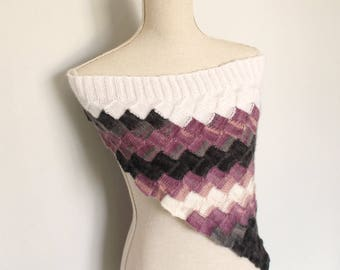 Pink, Purple, Grey and White Knitted Round Mohair Scarf/Shrug/Shawl