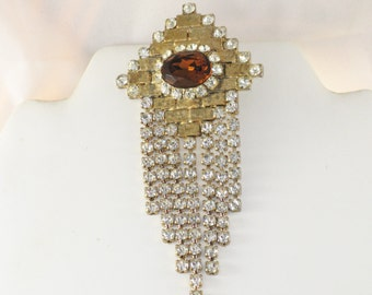 Vintage Large Dangling Amber and Clear Rhinestone Brooch Pin (B-2-1)